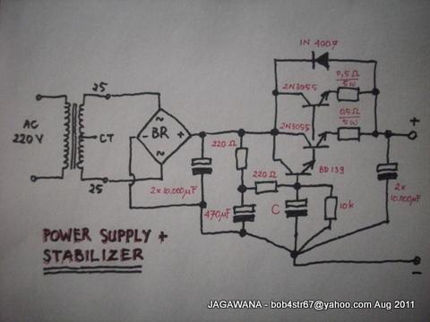 Inilah rangkaian yang saya pergunakan untuk power supply Final MOSFET.