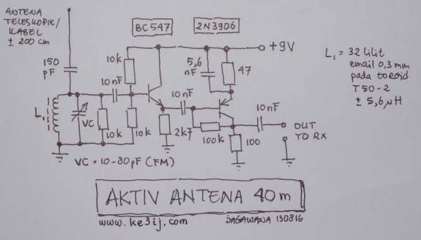 Antena Aktiv 40m Skema KECIL